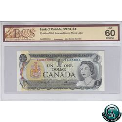 BC-46a-i-N5-ii 1973 Bank of Canada $1 Low Serial Number, Lawson-Bouey, S/N: AAA0000003 BCS Certified