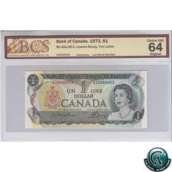 BC-46a-N5-ii 1973 Bank of Canada $1 Low Serial Number, Lawson-Bouey, S/N: AS0000003 BCS Certified CU