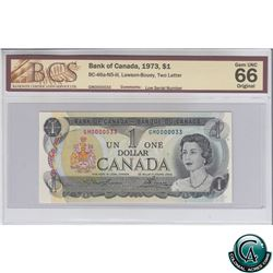 BC-46a-N5-iii 1973 Bank of Canada $1, Low Serial Number, Lawson-Bouey, S/N: GM0000033 BCS Certified