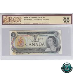 BC-46a-N5-iii 1973 Bank of Canada $1, Low Serial Number, Lawson-Bouey, S/N: GY0000030 BCS Certified