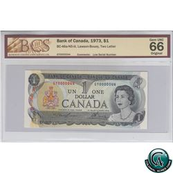 BC-46a-N5-iii 1973 Bank of Canada $1, Low Serial Number, Lawson-Bouey, S/N: GY0000044 BCS Certified