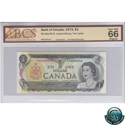 BC-46a-N5-iii 1973 Bank of Canada $1, Low Serial Number, Lawson-Bouey, S/N: MS0000033 BCS Certified