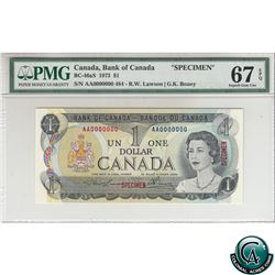 BC-46aS 1973 Bank of Canada SPECIMEN $1, Lawson-Bouey, S/N:AA0000000. (#484) PMG Certified Superb Ge