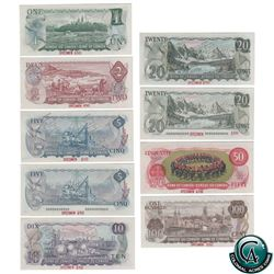Set of 9 Matching SPECIMEN Notes of the 1969-1979 Multicolour Issues (Set#486), all BCS Certified UN