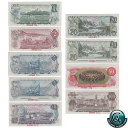 Set of 9 Matching SPECIMEN Notes of the 1969-1979 Multicolour Issues (Set#574) All BCS Certified UNC