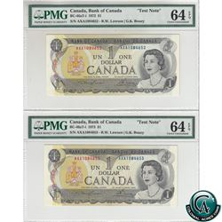 BC-46aT-i 1973 Bank of Canada $1 Test Notes 2 in Sequence. Lawson-Bouey, S/N: AXA1084652/53, Both PM