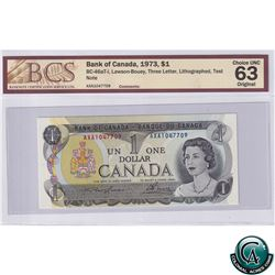 BC-46aT-i 1973 Bank of Canada Test Note $1 Three Letter, Lithographed, Lawson-Bouey, AXA1047709, BCS