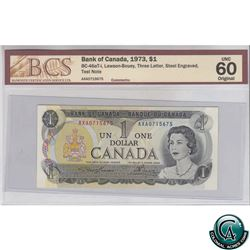 BC-46aT-i 1973 Bank of Canada $1, Lawson-Bouey, Three Letter,Steel engraved, Test Note, AXA0715675,
