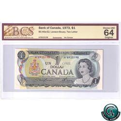 BC-46a-E2 1973 Bank of Canada $1, Lawson-Bouey, Two Letter, AF 8925198, Ink Smear, BCS CUNC-64 Origi