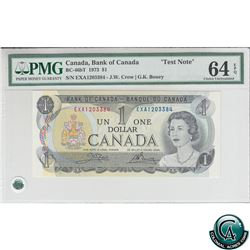 BC-46bT 1973 Bank of Canada Test Note $1, Crow-Bouey, S/N: EXA1203384 PMG CUNC-64 EPQ