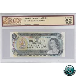 BC-46bT 1973 Bank of Canada $1 Test Note, Crow-Bouey, S/N: EXA1216097 BCS Certified CUNC-62 Original