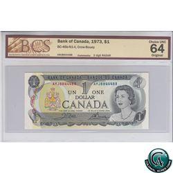 BC-46b-N1-ii 1973 Bank of Canada $1, Crow-Bouey, AMJ 8844488, 2 digit RADAR, CUNC-64 Original