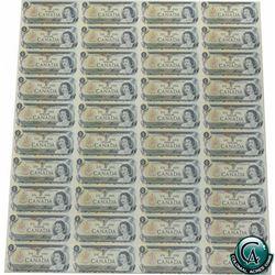 BC-46b. Uncut Sheet of 1973 $1.00 notes, 4x10 Format, Scarce ECW Prefix.