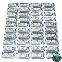 BC-46b. Uncut Sheet of 1973 $1.00 notes, 4x10 Format, Scarcer ECV Prefix.