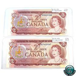 BC-47a 1974 Bank of Canada $2, 3-digit & 4-digit RADAR, Lawson-Bouey, S/N:RM8829288 & BE7625267 Choi