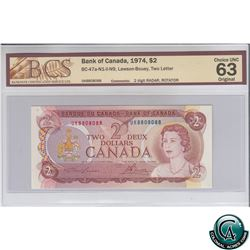 BC-47a-N1-ii-N9 1974 Bank of Canada $2, 2 Digit RADAR, Rotator. Lawson-Bouey, S/N: UK8808088 BCS Cer