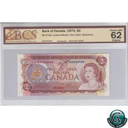 BC-47aS 1974 Bank of Canada SPECIMEN $2, Lawson-Bouey, S/N:BA0000000 BCS Certified CUNC-62 Original.