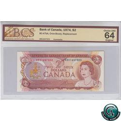 BC--47bA 1974 Bank of Canada Replacement $2, Crow-Bouey, S/N: ABX1647303 BCS Certified CUNC-64 Origi
