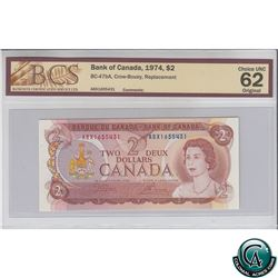 BC-47bA 1974 Bank of Canada Replacement $2, Crow-Bouey, S/N: ABX1655431 BCS Certified CUNC-62 Origin