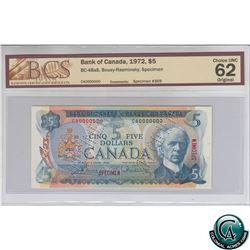 BC-48aS 1972 Bank of Canada SPECIMEN $5, Bouey-Rasminsky, S/N: CA0000000 BCS Certified CUNC-62 Origi