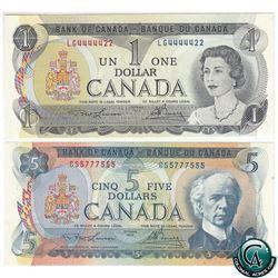 BC-48b 1972 Bank of Canada $5, & BC-46a 1973 $1, Both Lawson-Bouey, S/N: CS5777555 & LG4444422. Both