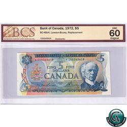 BC-48bA 1972 Bank of Canada Replacement $5, Lawson-Bouey, S/N: *CS0345619 BCS UNC-60 Original
