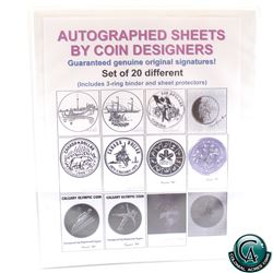 Set of 20x Autographed coin designs of Submissions By Dora De-pedery Hunt, Brent townsend, Raymond T