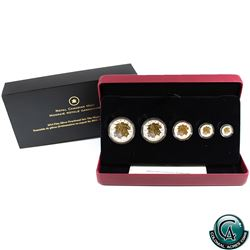 RCM Issue: 2014 Canada The Maple Leaf Gold Plated Fine Silver 5-coin Fractional Set (TAX Exempt)