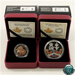 RCM Issue: 2015 Canada $20 A Historic Reign & 2016 $3 Queen Elizabeth Rose Fine Silver Coins (Tax Ex