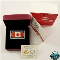 RCM Issue: 2015 Canada $50 50th Anniversary Canadian Flag Silver Rectangular Coin (Tax Exempt).