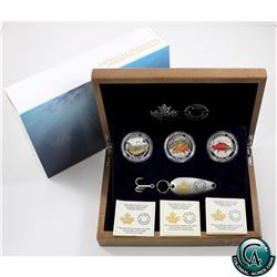 RCM Issue: 2016 Canada $20 Canadian Salmonids 3-coin Fine Silver Set with Fishing Lure (One capsule