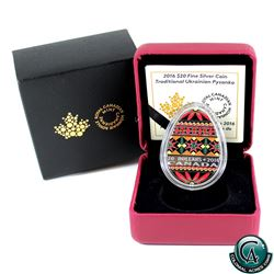 RCM Issue: 2016 Canada $20 Traditional Ukrainian Pysanka Egg-Shaped Fine Silver Coin (outer sleeve l