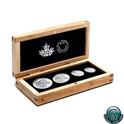 RCM Issue: 2016 Canada Wolf Fine Silver Fractional 4-coin Set (1oz capsule is lightly scratched). Ta