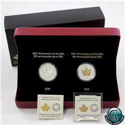 RCM Issue: 2018 & 2019 Canada $20 1oz 30th Anniversary of the Silver Maple Leaf & Gold Plated 40th A