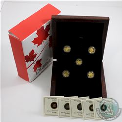 Complete 2013 'O' Canada $5 Fine Gold 5-Coin Set with Deluxe RCM Case (Tax Exempt).