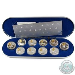 Complete 1990-1994 Canada Aviation One 10-Coin Set in Deluxe RCM Case.  Missing outer box.
