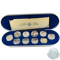 Complete 1995-1999 Canada Aviation Two 10-coin Set with Deluxe RCM Case. Missing outer box and conta