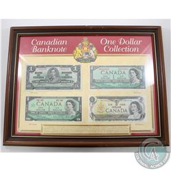 1937-1973 Canada $1 Banknote Collection in Presentation Frame.  You will receive the 1937, 1954, 196
