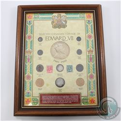 Canadian Coinage & Stamps of Edward VII in Display Frame.  You will receive 10 coins and 2 stamps in