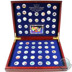 1999-2009 United States Statehood Colorized Quarter Collection in Deluxe presentation case with Guid
