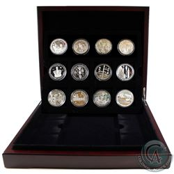 2012 Official Diamond Jubilee Silver 12-Coin Collection in Deluxe Presentation Case issued by the Ro
