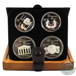 1976 Montreal Olympics 4-Coin Silver Proof Set with Original Display Box and Certificate of Authenti