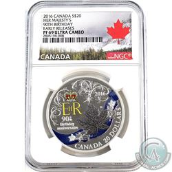 2016 Canada $20 Her Majesty- 90th Birthday NGC Certified PF-69 Early Release (Tax Exempt)