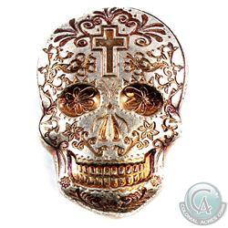 Monarch 2oz .999 Fine Silver Orange Coloured Sugar Skull in Custom Wooden Box. (TAX Exempt)