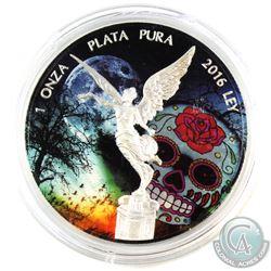 2016 Mexico Coloured Sugar Skull 1oz .999 Fine Silver Libertad. (TAX Exempt)