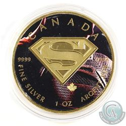 2016 Canada Coloured & Gilded Superman Shield 1oz .9999 Fine Silver Maple Leaf. (TAX Exempt)