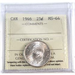 25-cent 1946 ICCS Certified MS-64. Lustrous Blast White coin