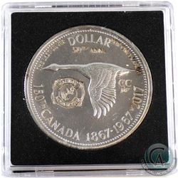 1867-1967-2017Canada Halifax, Nova Scotia with Anchor Counter-Stamped Silver Dollar Commemorating t