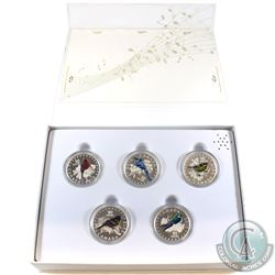 2015 Canada $10 Colourful Songbirds Fine Silver 5-Coin Set with Deluxe Musical RCM Box (Tax Exempt)