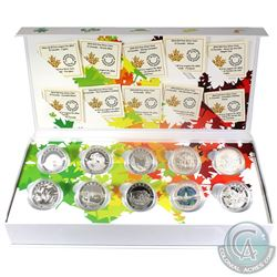 Complete 2014 'O' Canada $10 Fine Silver 10-Coin Set with Deluxe RCM Box (Tax Exempt)